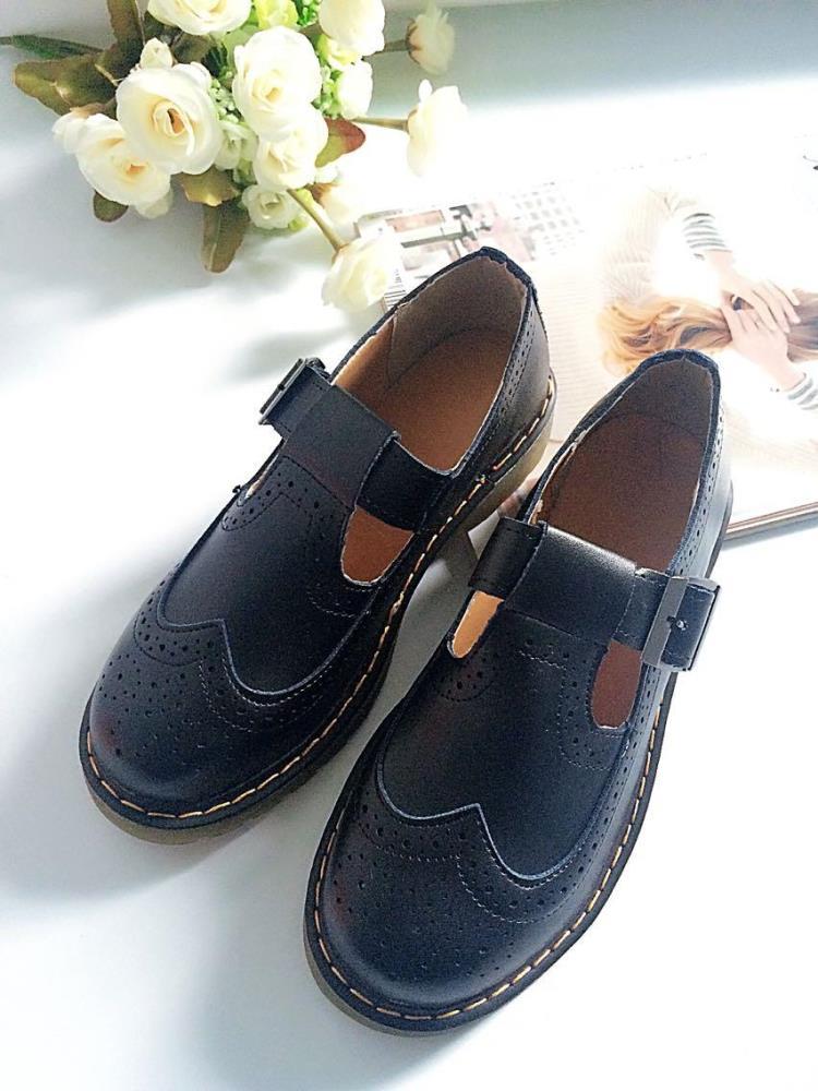 春季英伦风复古雕花单鞋学院风平底牛筋底黑色牛津小皮鞋女韩版