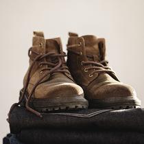 男鞋冬季加绒复古工装靴中帮沙漠靴高帮英伦马丁靴潮男真皮短靴子