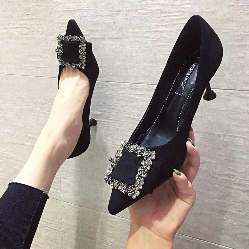 细跟高跟鞋2019新款秋冬款百搭网红法式少女黑色职业单鞋猫跟5cm