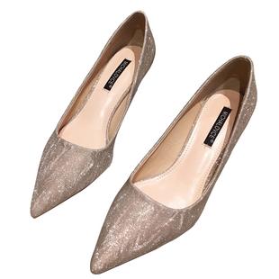 網紅銀色高跟女2020年新款秋冬百搭低中細跟新娘婚鞋尖頭伴娘單鞋