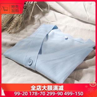 新款薄款通勤气质V领七分袖纯色针织开衫防晒衫空调衫女式秋