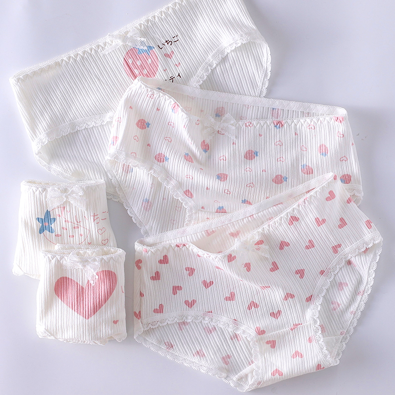 First love pink love strawberry spring and summer pure cotton Japanese girls lovely underwear female large medium low waist cotton crotch