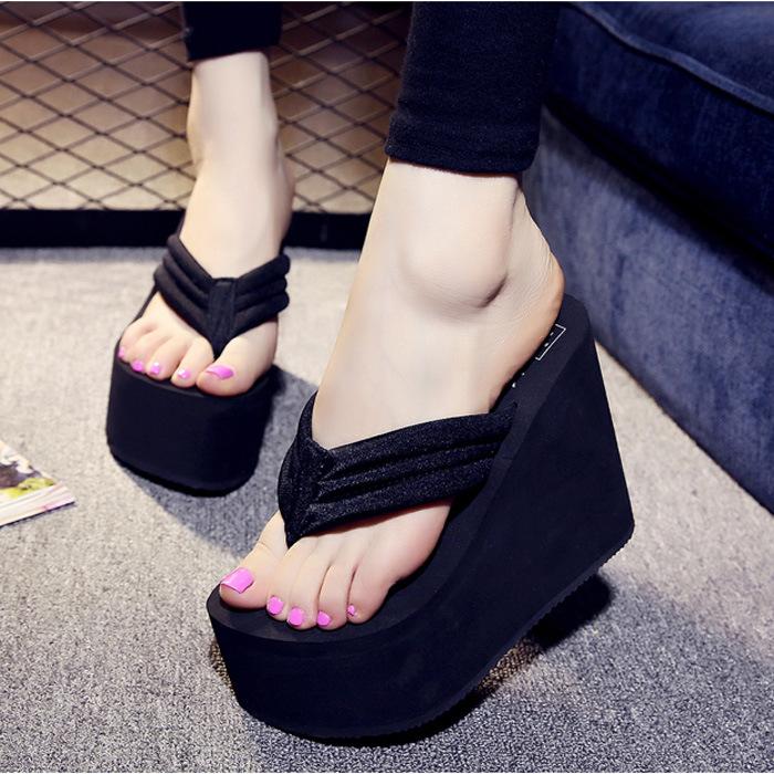 内增高女拖鞋夏天夹脚防水台土扦鞋女外穿波跟厚底软底松糕高跟凉