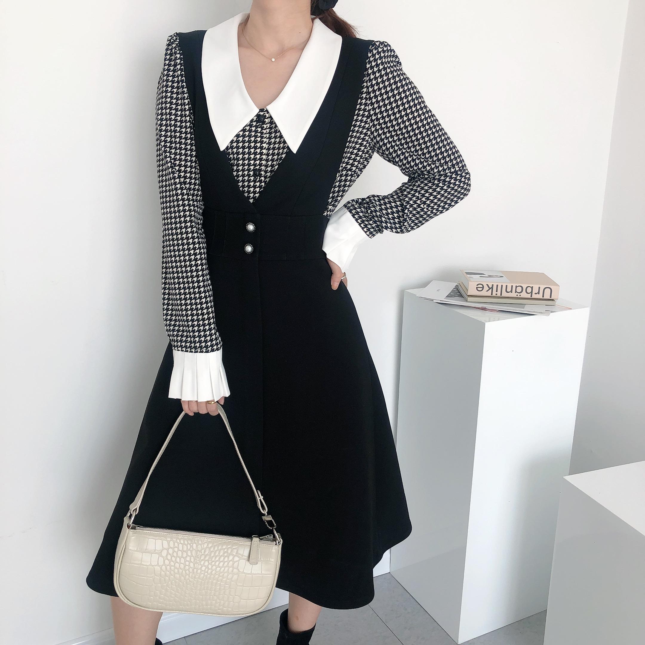 CHONG R 宠儿家 秋冬新款  黑色/格子背带裙 纯色长裙伞裙