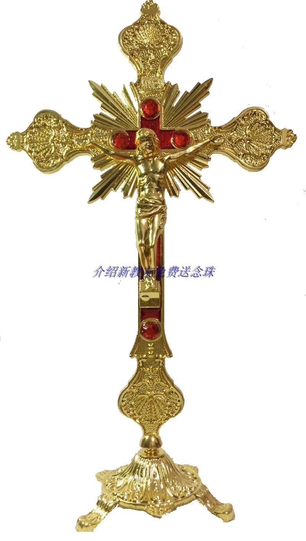爆款主内天主教基督教锌合金大十字架摆件耶稣苦像巴洛克教堂圣物