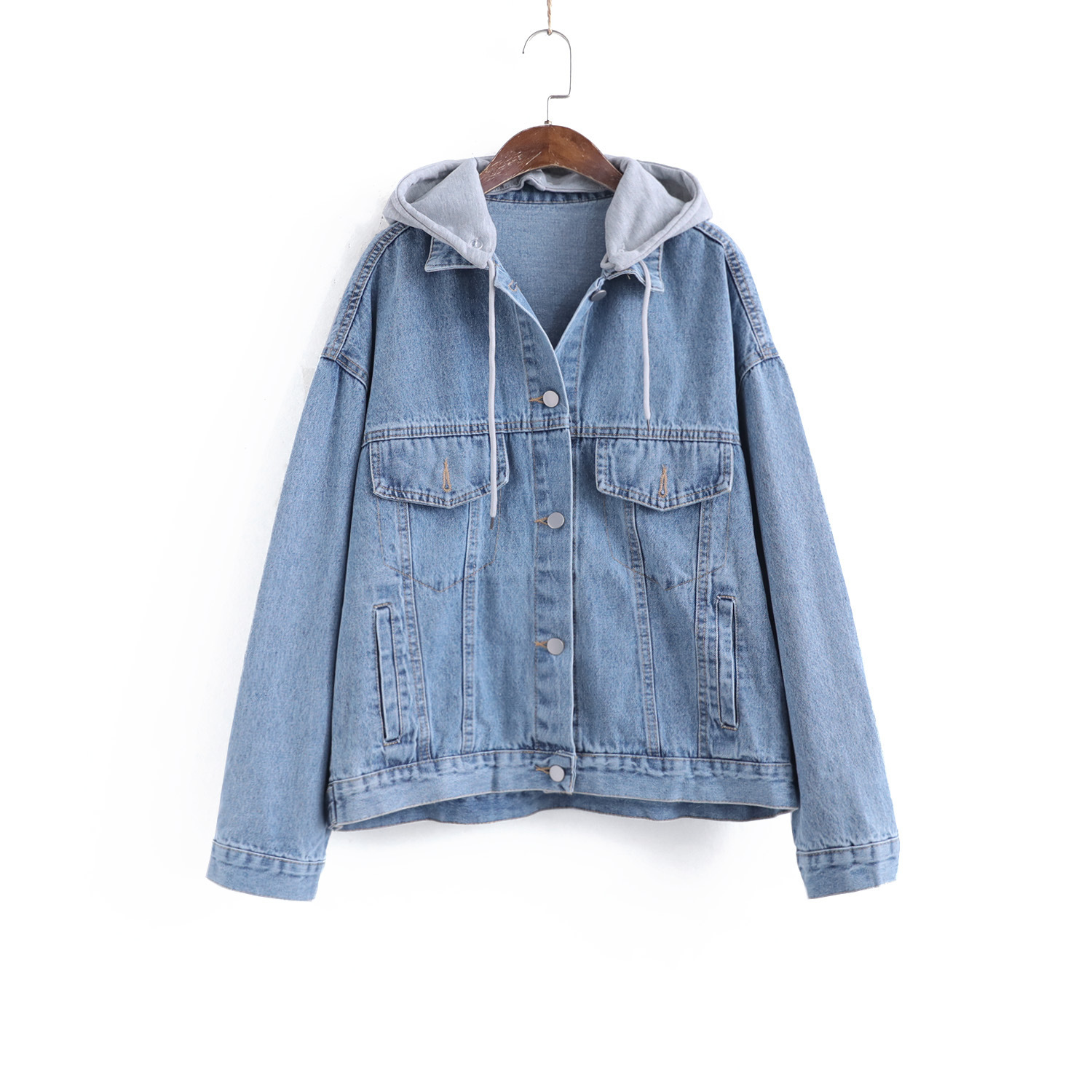 Detachable hooded letter embroidered denim cotton jacket spring Korean loose and slim casual jacket fashion top
