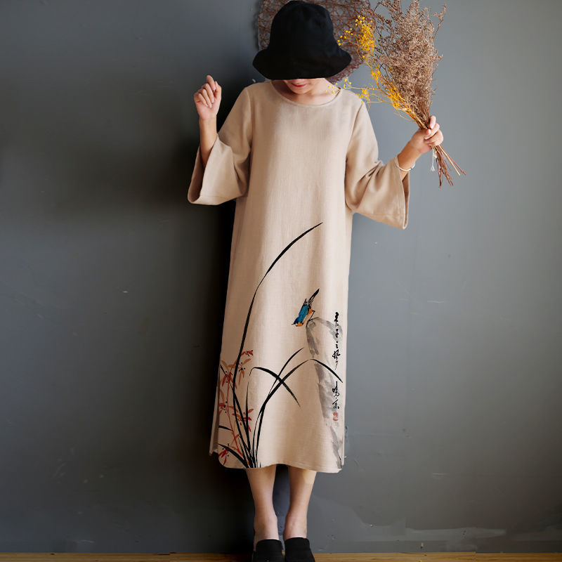 Autumn thickened knitting hand painted original design womens dress Chinese style hand painted pure linen dress