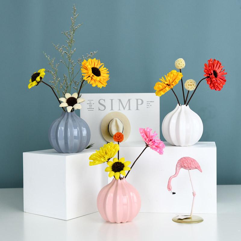 (用19.9元券)创意陶瓷ins风北欧清新干花小花瓶