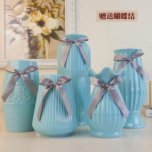 陶瓷现代创意时尚白色花瓶简约瓷器客厅摆件家居家饰干花花器插花