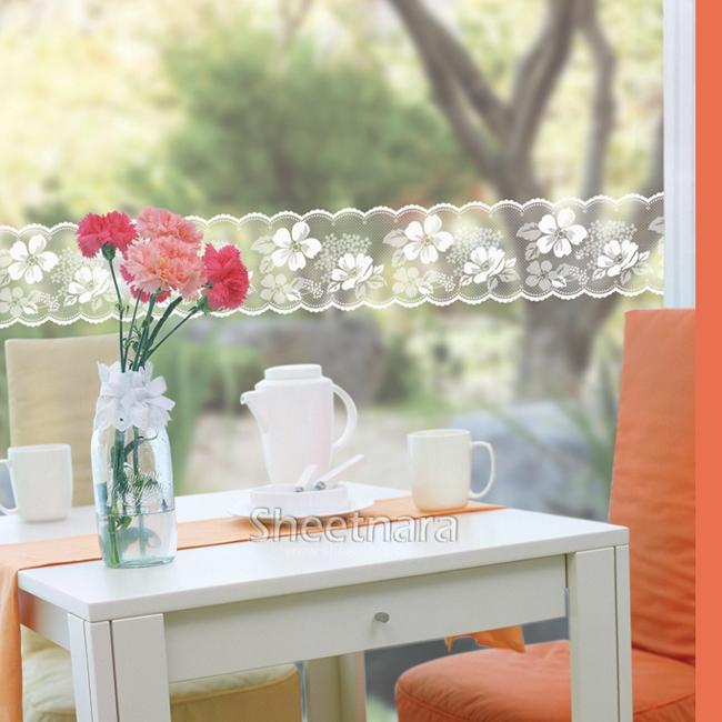 韩国进口玻璃贴膜 透明腰线 阳台门窗防撞贴镜子贴纸田园蕾丝花边