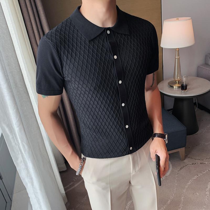 PT15-P58型男冰丝短袖英伦修身翻领休闲纯色网格针织POLO开衫