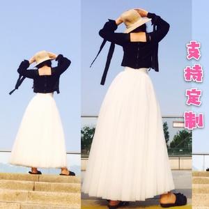 新品超长网纱蓬蓬裙不规则多层重工百褶及踝半身裙大摆高腰A字仙