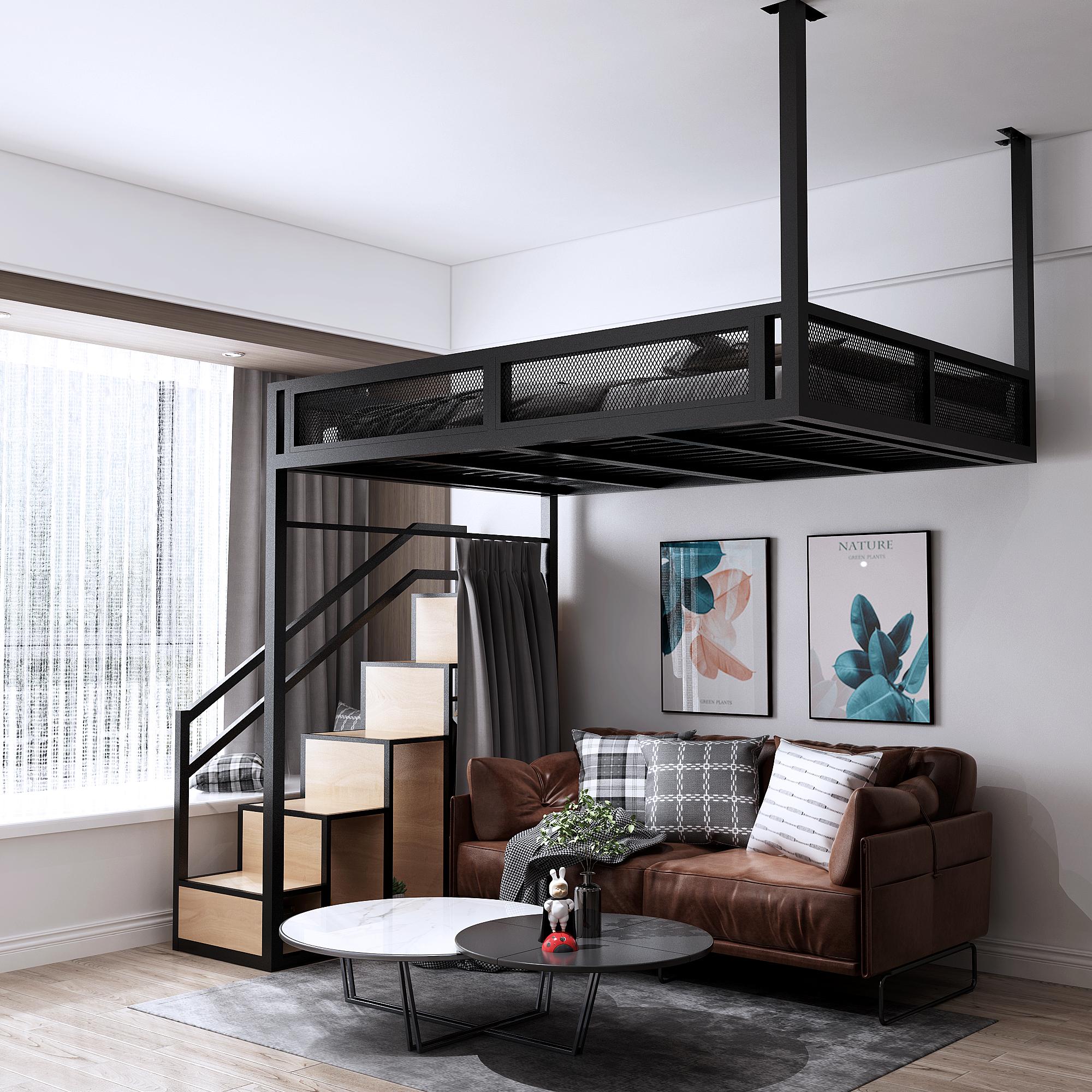 新款铁艺高架床复式二楼床高低床省空间loft悬空吊床多功能楼阁床
