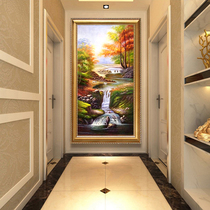 Painting hand-painted European Xuan Guan decorative painting american landscape landscape painting living room vertical edition hanging corridor aisle mural