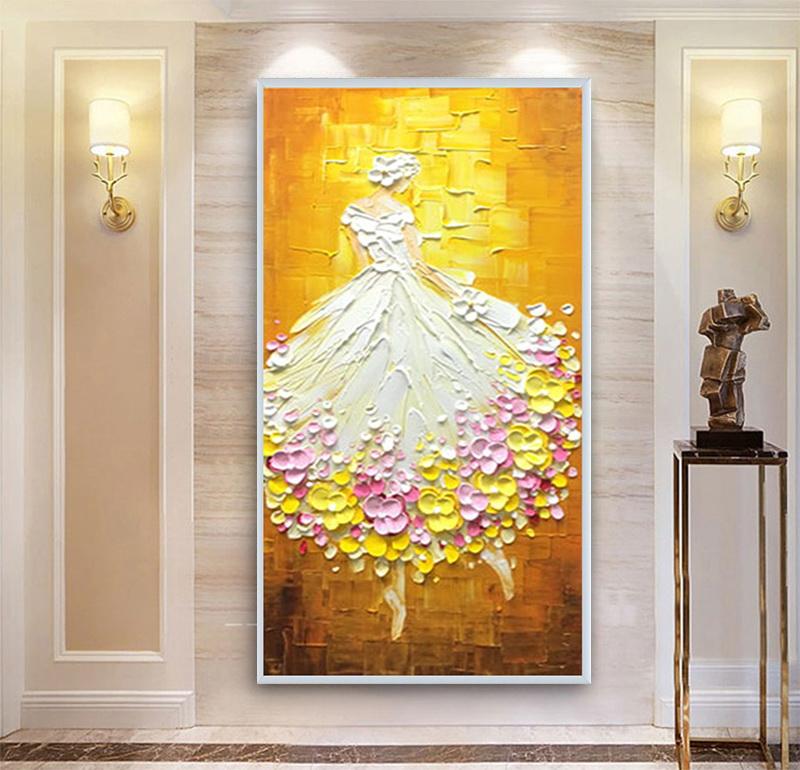 北欧玄关抽象挂画芭蕾舞人物画手绘油画欧式客厅装饰画定制
