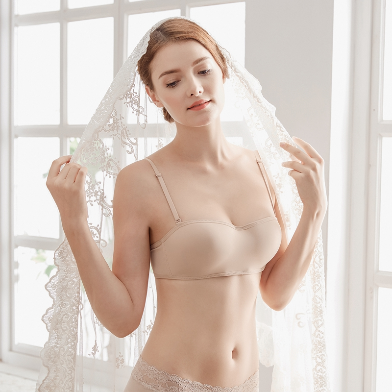 Japanese wedding dress spring and summer open back Strapless underwear invisible wrap bra bra without steel ring 3D one piece