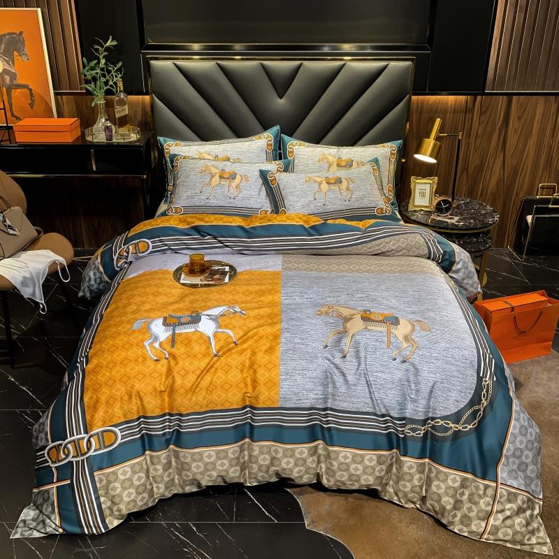 80支纯棉长绒棉数码印花四件套橙色小白马车复古宫廷床上用品全棉