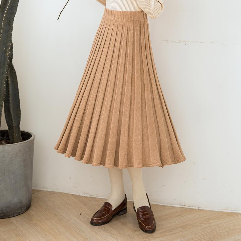 【6386#不低79】半身裙女中长款百褶裙新款修身韩版显瘦长裙女