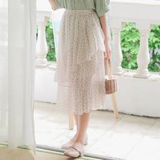 【6564#不低于69】实拍现货夏季松紧腰印花不规则半身裙