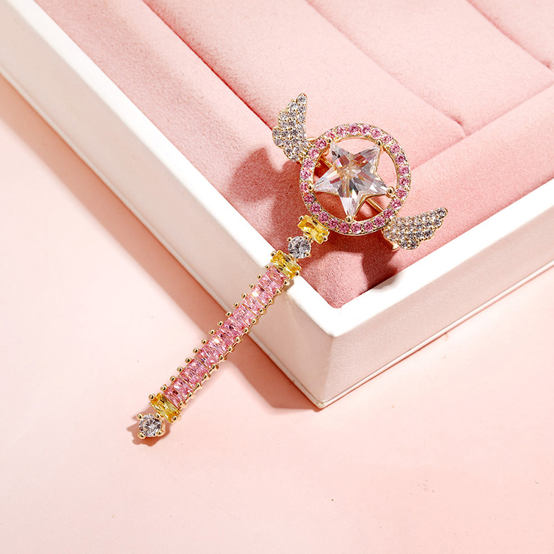Ameliou Fairy Magic Wand magic Pin Necklace magic card girl cherry blossom coat coat pin clasp