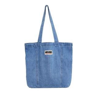 OK日系水洗做舊淺藍牛仔布單肩手提包男女生帆布包環保復古購物袋