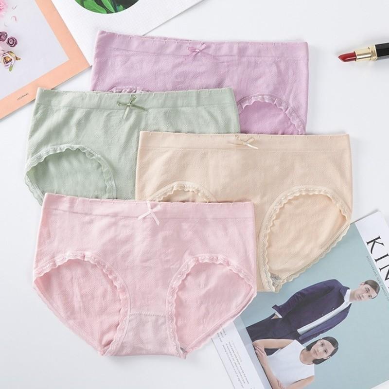 【4条装】 四季内裤女士中腰蕾丝花边石墨烯抗c抑菌学生三角内裤