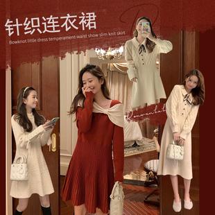 肉完桔梗红色针织连衣裙修身法式小众秋冬复古赫本风毛衣裙中长款图片