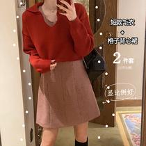 肉完ROUWANBABY 短款红色毛衣女+格子无袖背心裙毛衣套装裙两件套