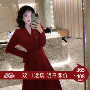 领5元券购买【一姐连衣裙】全羊毛复古又性感裙子