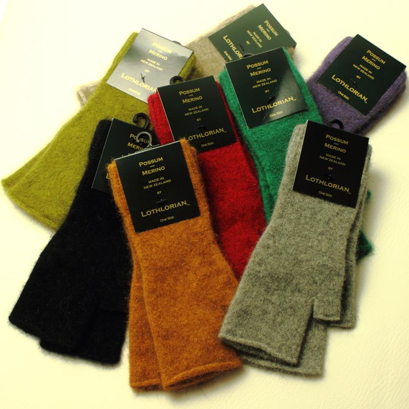 新西兰品牌 possum袋貂绒 美丽诺羊毛 针织无露指半截手套 厚纯色