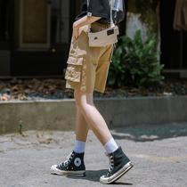 卡其色工装短裤女夏宽松休闲运动五分裤女直筒港味大码中裤女日系