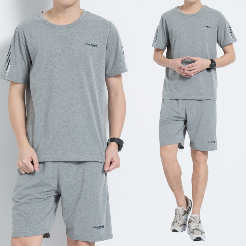 Summer mens loose cotton dad summer suit short sleeve casual sportswear for middle-aged and elderly people