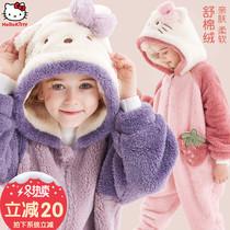 凯蒂猫女童睡衣连体法兰绒儿童宝宝秋冬珊瑚绒睡袍女孩卡通家居服