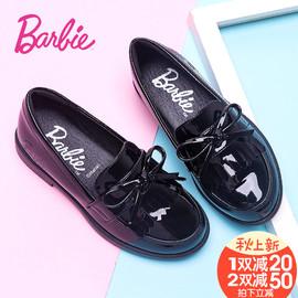 芭比童鞋女童皮鞋春秋新学生小孩公主鞋儿童时装鞋黑色休闲鞋单鞋
