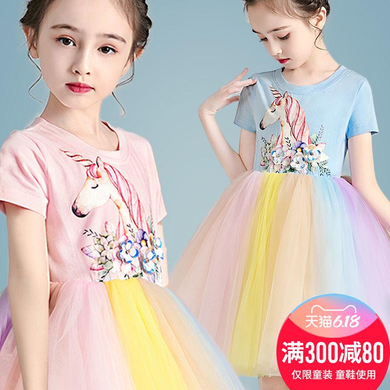 女童蓬蓬纱公主裙儿童新款裙子夏宝宝短袖裙子大童女孩洋气连衣裙