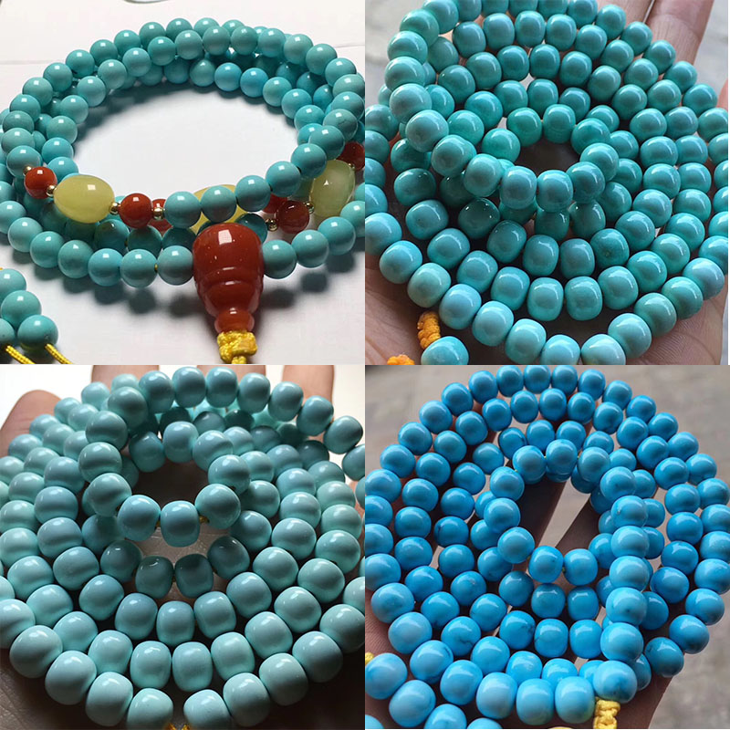 Hubei raw mineral natural turquoise necklace hand string old round beads 108 old shape Bracelet men and women genuine accessories