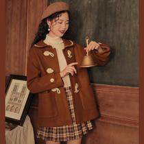 linjou玲玖2020学院风复古日系大衣牛角扣小个子毛呢外套女短款冬