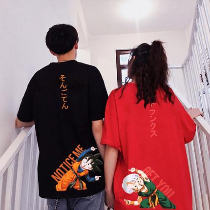情侣装夏装2019新款ins七龙珠联名潮牌宽松纯棉潮流悟空短袖t恤男