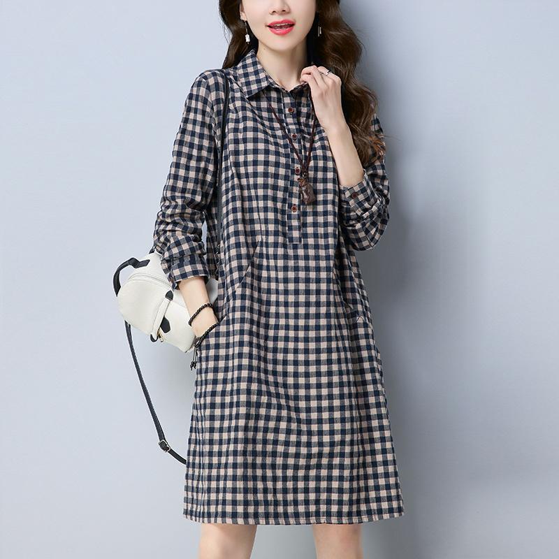 Plaid Dress womens mid long 2019 autumn new Korean loose and thin cotton casual retro shirt skirt