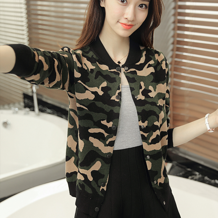 Camouflage T-shirt womens cardigan baseball uniform slim jacket spring 2019 new womens Sailor Dance jacket sweater