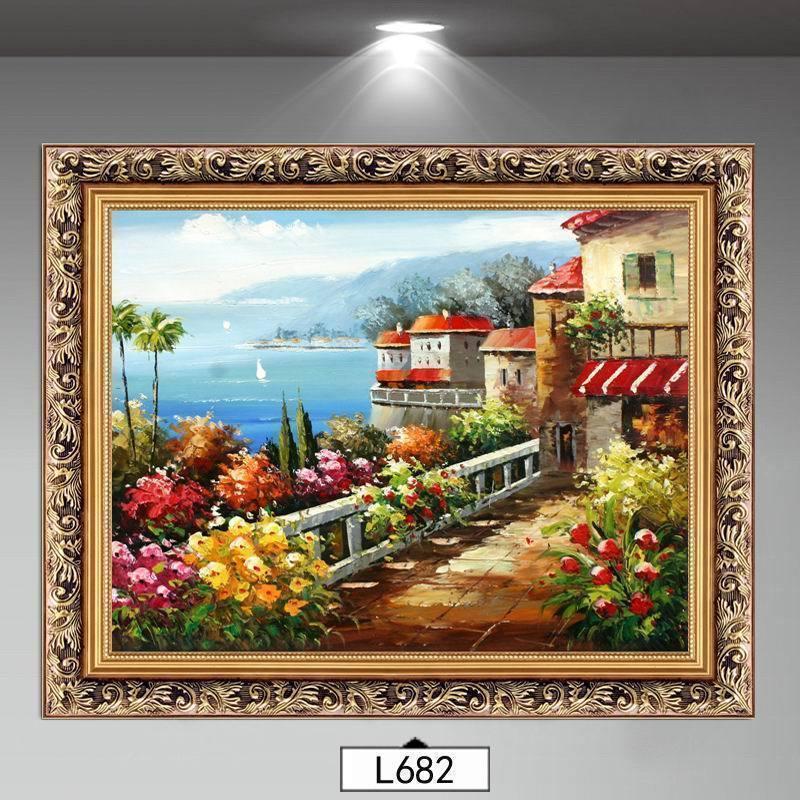 地中海风格装饰画客厅油画风景挂画北欧沙发墙餐厅墙挂画玄关壁画
