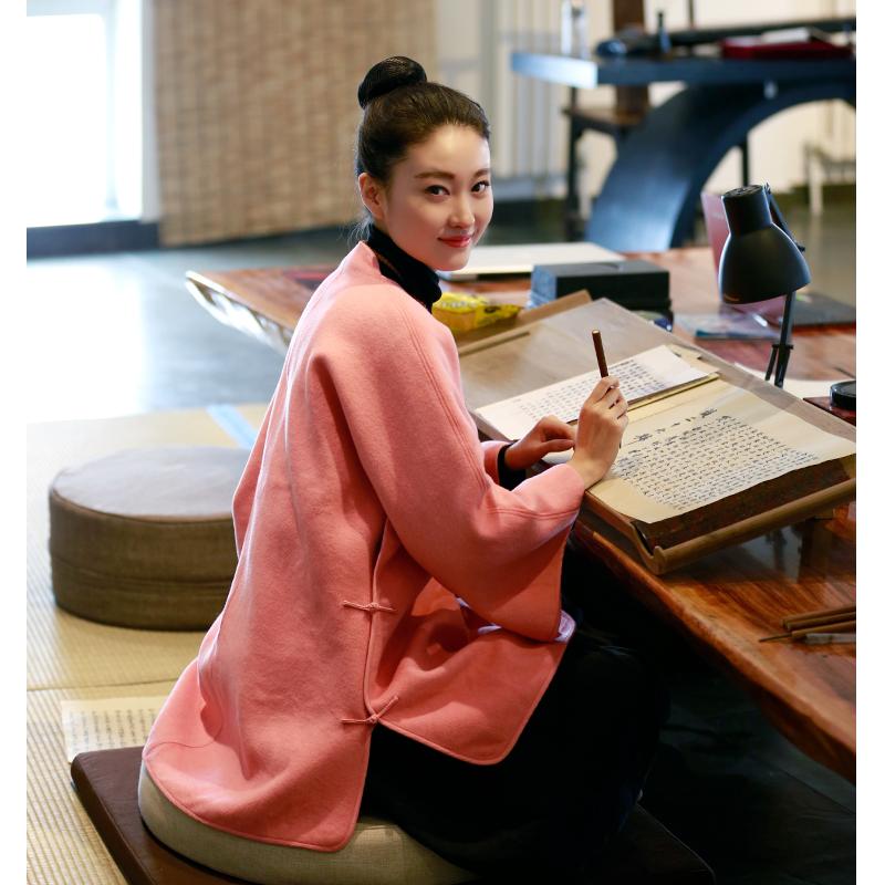 佛笑缘秋冬季中国风茶服女禅意改良汉服外套女装中式唐装盘扣上衣