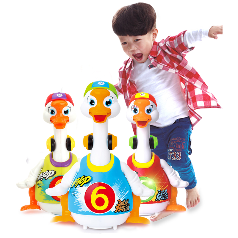 彙樂玩具828搖擺鵝玩具益智1~3歲嬰兒爬行電動萬向會說話跳舞鴨子