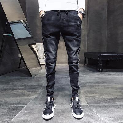 2018秋季款韩版修身弹力抽绳束脚牛仔裤男店主风 913 P60