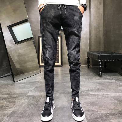 2018秋季款新款韩版修身弹力抽绳束脚牛仔裤男店主风 916 P60