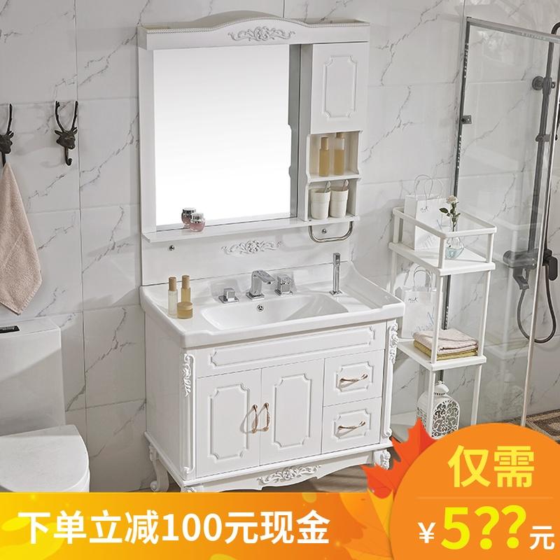 欧式浴室柜组合落地式洗脸盆柜卫生间防水洗漱台面盆洗手盆柜组合11-27新券