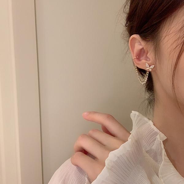 蝴蝶耳钉女气质韩国个性耳夹耳环一体式超仙流苏耳饰2021年新款图片