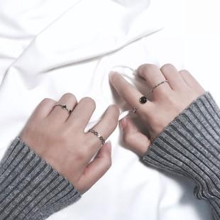 日韩简约组合潮人开口尾戒关节戒指