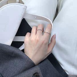 开口戒碧波海浪纹开口可调节戒指简约学生百搭两件套食指环J106图片