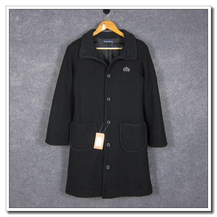 日系时尚drug store's女装冬季羊毛混纺中长款修身毛呢外套*B375